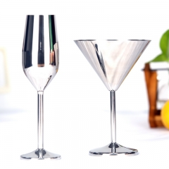 220ml Stainless Steel Champagne Cup Flute Glass Goblet