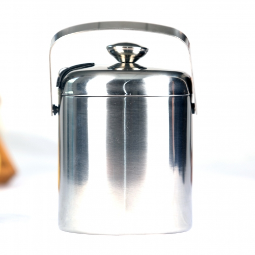 1500ml Double Wall Stainless Steel Ice Bucket With Lid and Ice Tongs