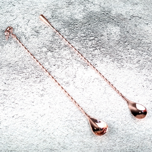 Copper Electroplated Teardrop|Goose Stainless Steel Twisted Stem Bar Spoon