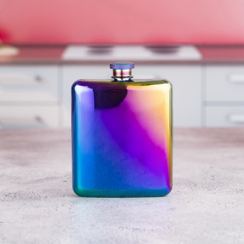 6oz Electroplated Stainless Steel Premium Hip Flask