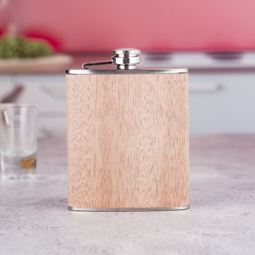 7oz Wooden Wrapped Stainless Steel Hip Flask