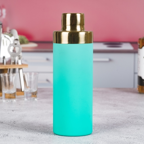 550ml Cylinder Golden Copper Plated Rubber Painting Cocktail Shaker