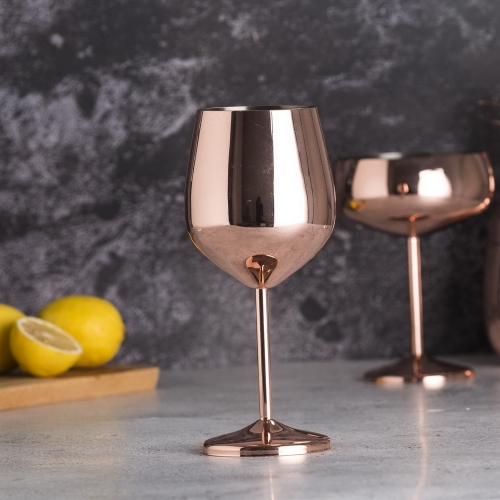 500ml Stainless Steel Copper Electroplated Wine Cup Wine Glass Goblet
