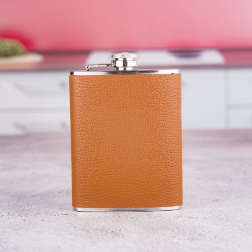 8oz PU Wrapped Hip Flask PU Leather Covered Hip Flask