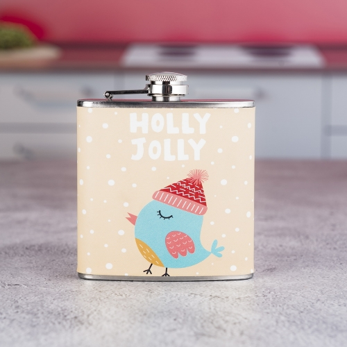 6oz Chirstmas Series PU Wrapped Hip Flasks