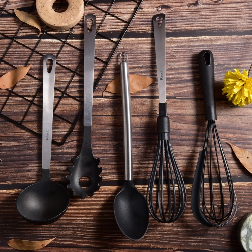 Nylon Kitchen Utensil Set With Flat Stainless Steel Handle