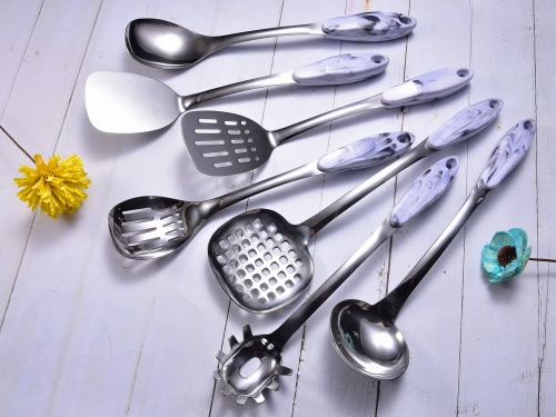 Weighted Stainless Steel Kitchen Utensil Set With Marble Pattern Handle High Quality Kitchen Utensils