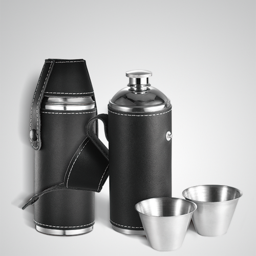8oz Cylindrical Hip Flask Cylinder Flask With Shot Cups