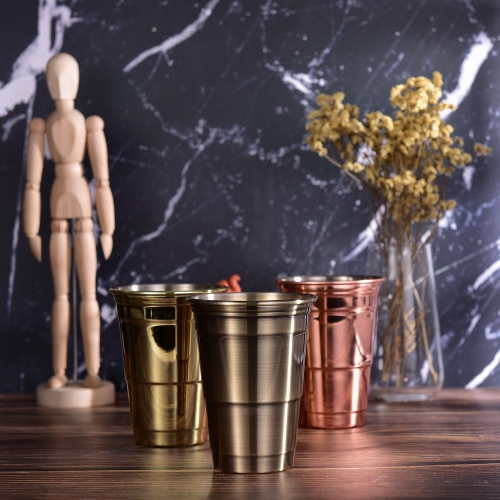 500ml Party Cup Stainless Steel Julep Cup Bronze Brushed Plated