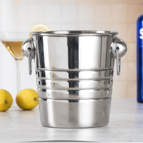 4L Stainless Steel Ice Bucket 4 liter Ice Bucket With 2 Rings