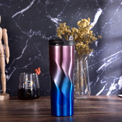 480ml Double Wall Vacuum Cup Gradational Thermos Flask Coffee Cup