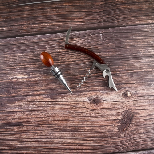 Wooden Handle Corkscrew Set Corkscrew And Wine Stopper Set In A Wooden Box