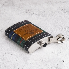 7oz Fabrics Wrapped Hip Flask Leather Covered Hip Flask