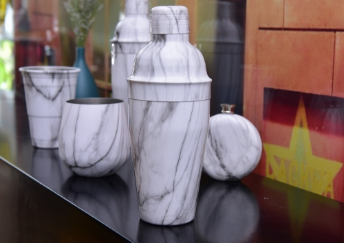 Marble Patterned Watertransfer Barware Set Water Best Row Barware Set