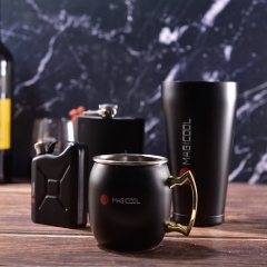 Magicool Matt Black Drinking Set Moscow Mule Mug Hip Flask Cocktail Shaker Set