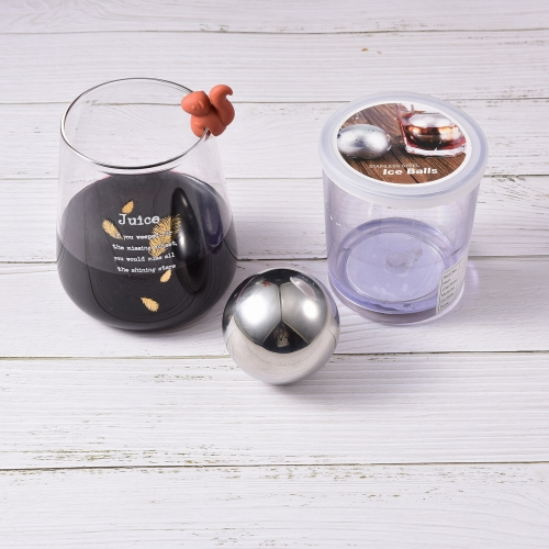 SS304 Ice Ball Whiskey Stone 4cm Ice Ball With Glass