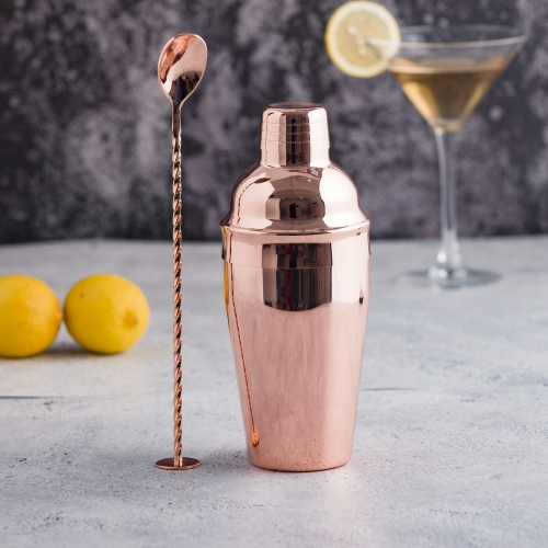 Copper Plated Cocktail Shaker Set Cocktail Shaker And Bar Spoon Set Barware Set