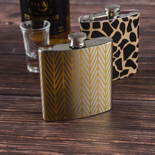 6oz Golden Pattern Printed Hip Flask