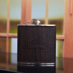 6oz Wood-like Hip Flask Wooden Wrapped Hip Flask With Logo