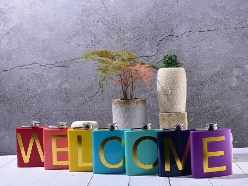 """Welcome"" Hip Flask Series Colorful Letter Printed Hip Flasks"