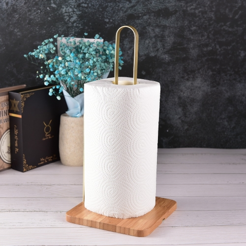 Wooden Bamboo Paper Towel Holder Kitchen Tissue Rack