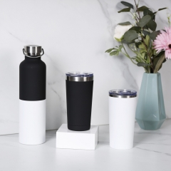 1000ml Rubber Painted Sport Bottle Big Vacuum Flask Stainless Steel Black & White Bottle