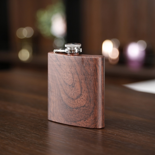 6oz Wooden Printed Hip Flask Wooden Stainless Steel Hip Flask