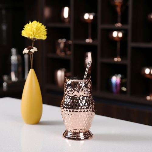 500ml Owl Cup Copper Plated Stainless Steel Straw Cup Owl Shape Cup