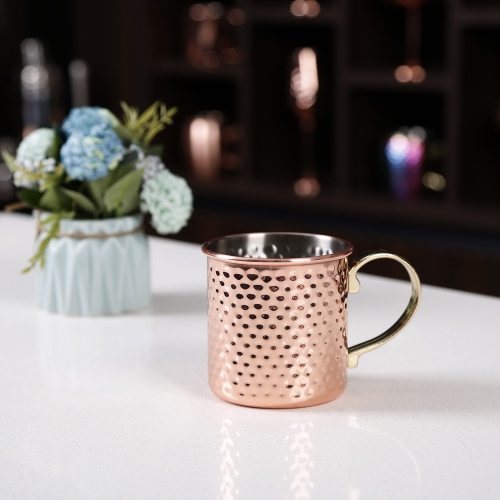 450ml Hammered Copper Electroplated Moscow Mule Mug Cylindrical Mug