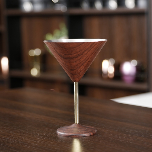 300ml Wooden Printed Stainless Steel Martini Cup Martini Glass Goblet