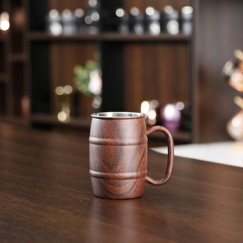 450ml Wooden Printed Stainless Steel Beer Mug Double Wall Beer Mug