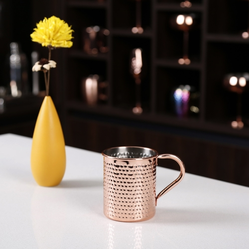500ml Hammered Copper Electroplated Moscow Mule Mug Cylindrical Mug