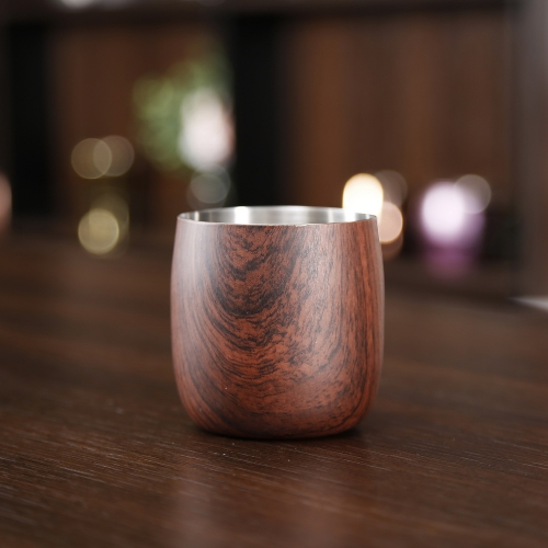 350ml Wooden Printed Stemless Wine Cup Wooden Printed Stainless Steel Wine Glass