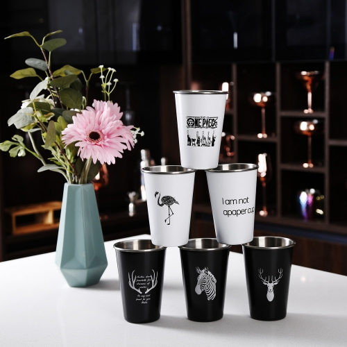 550ml 1-color Painted Party Cup Stainless Steel Cups With Logo