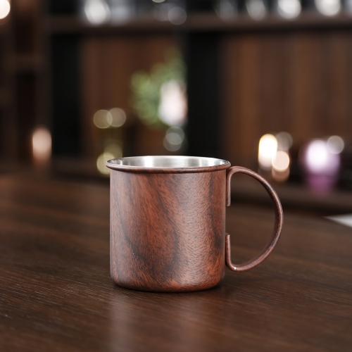 450ml Wooden Printed Copper Moscow Mule Mug Cylindrical Mug