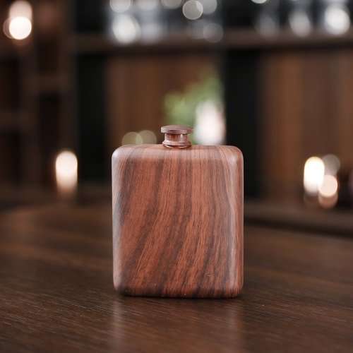 Premium 6oz Wooden Printed Hip Flask Wooden Stainless Steel Hip Flask