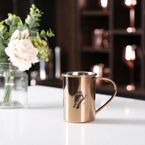 450ml Copper Stainless Steel Cylinderical Mug With Sketch Logo