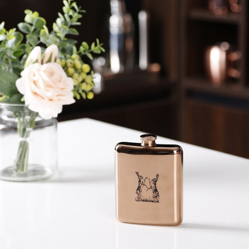 6oz Electroplated Stainless Steel Premium Hip Flask With Sketch Logo
