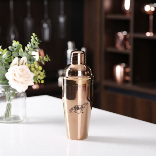 750ml Stainless Steel Copper Plated Cocktail Shaker With Sketch Logo