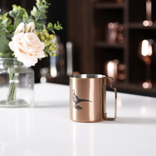 350ml Copper Stainless Steel Cylinderical Mug With Bottle Handle And Sketch Logo