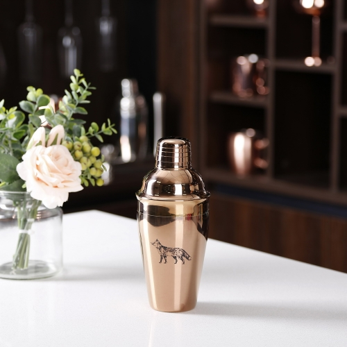 550ml Stainless Steel Copper Plated Cocktail Shaker With Sketch Logo