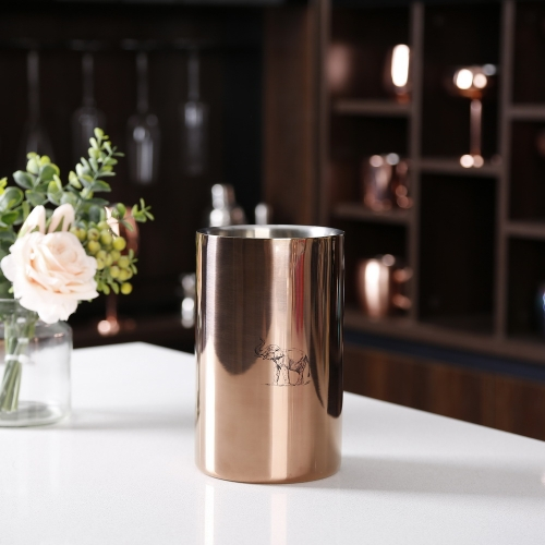 1500ml Copper Double Wall Stainless Steel Ice Bucket 1.5L Ice Bucket With Sketch Logo