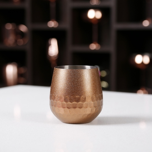 500ml Stainless Steel Glitter Sparkling Wine Glass Honeycomb Stemless Wine Cup