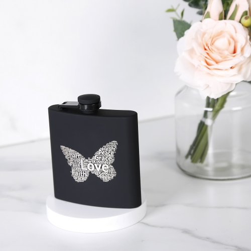 6oz Rubber Painted Hip Flask Stainless Steel Hip Flask With Word Cloud Logo