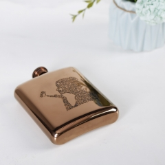 6oz Antique Copper Stainless Steel Premium Hip Flask With Word Cloud Logo