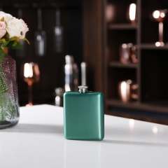 6oz Green Stainless Steel Hip Flask Green Premium Hip Flask