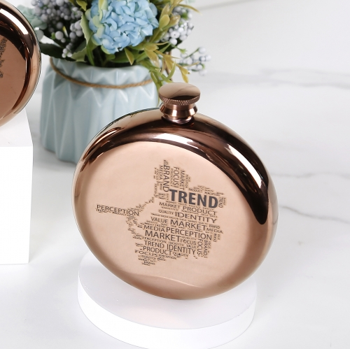 10oz Antique Copper Round Hip Flask Stainless Steel Hip Flask With Word Cloud Logo