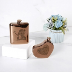 5oz Antique Copper Heart Flask Hear Shape Hip Flask With Word Cloud Logo