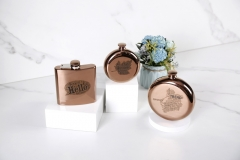 5oz Antique Copper Round Hip Flask Stainless Steel Hip Flask With Word Cloud Logo