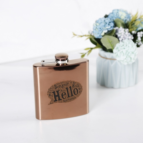 6oz Antique Copper Hip Flask Stainless Steel Hip Flask With Word Cloud Logo